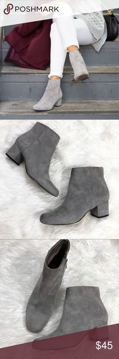 bb21e8d1d Sam Edelman Edith Gray Suede Block Heel Booties Gently worn Overall great  condition Small mark (
