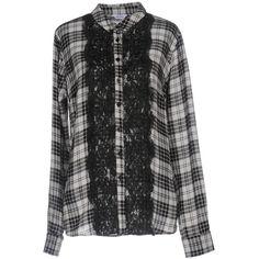 Liu •jo Shirt (1 110 SEK) ❤ liked on Polyvore featuring tops, black, long-sleeve shirt, extra long sleeve shirts, long sleeve plaid shirts, long sleeve plaid shirt and long sleeve shirts