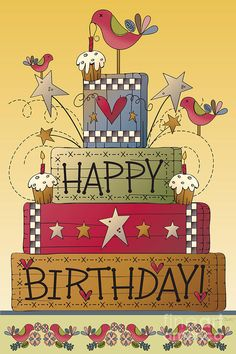 Happy Birthday Illustration by Jean Plout Happy Birthday Vintage, Happy Birthday Wishes Cards, Birthday Wishes And Images, Happy Birthday Signs, Happy Birthday Pictures, Birthday Wishes Quotes, Happy Birthday Sister, Birthday Love, Birthday Humorous