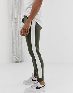 aa2ac48bb Image 1 of ASOS DESIGN skinny sweatpants with side stripe in khaki Joggers,  Sweatpants,