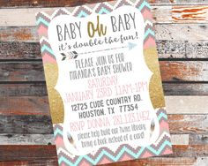 Twins Baby Shower Invite. Twins Shower. by BlueHouseCollection