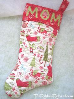 DIY Stocking // Quilted Christmas Stocking - {The Ribbon Retreat Blog} Stockings With Names, Diy Stockings, Ribbon Retreat, Quilted Christmas Stockings, Stocking Tree, Making Hair Bows, Winter Christmas, Christmas Kiss, Holiday Fun