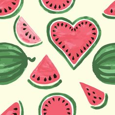 SET OF WATERCOLOR FRUITS: - 15 card with cute watercolors watermelons and lettering, - 3 card with watermelon, cherry and strawberry, - 2 stamps with watercolor Cute Summer Backgrounds, Cute Summer Wallpapers, Cute Wallpapers, Iphone Wallpapers, Watermelon Drawing, Watermelon Illustration, Watermelon Wallpaper, Watermelon Decor, Fruit Icons