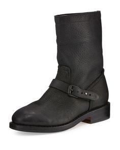 S1EYF Rag & Bone Oliver Leather Moto Boot, Black