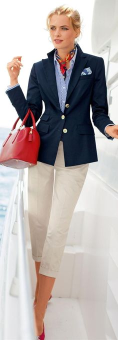 White jeans with striped shirt, navy blazer and a touch of red