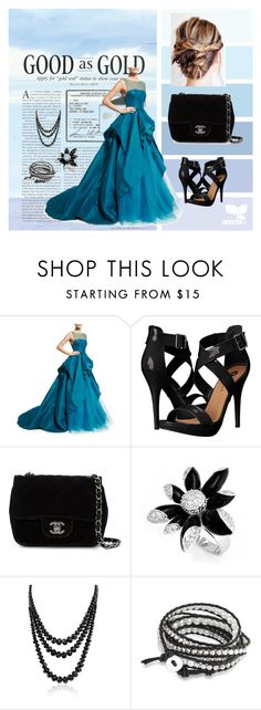 """Good as Gold"" by hazreta-jahic ❤ liked on Polyvore featuring Monique Lhuillier, Michael Antonio, Chanel and Bling Jewelry"