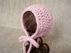 Newborn Baby girl hat Crochet newborn bonnet Photo prop by JURGOSS, €7.30