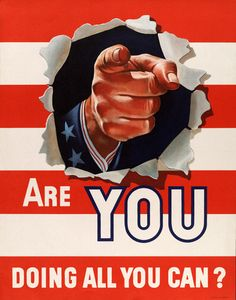 1942 C Are You Doing All You Can? Vintage WWII poster. #wwii #vintage #uncle sam