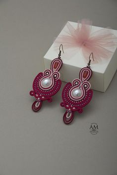 delicate soutache jewelry earrings red pearl elegante long chandelier earrings statement jewelry Red earrings handmade in soutache embroidery technique. For as big as they are, they are surprisingly lightweight. This Swarovski earrings are perfect for your especial day. The