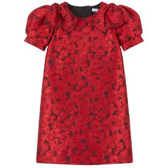 Brocade on the outside Silk lining Couture dress Stylish outfit for great occasions Straight fit Crew neck Short sleeves Zipper in the back Fancy bows Flower print - 475,00 €