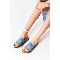 Suede Flatform Slide ($59) ❤ liked on Polyvore featuring shoes, sandals, suede leather shoes, urban outfitters shoes, platform slide sandals, suede platform sandals and flatform shoes