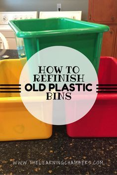 Step by step DIY on how to refinish old plastic bins with spray paint.