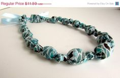 ON SALE Teal Aqua Blue Brown Beaded Nursing Necklace by RubyRebels, $10.79