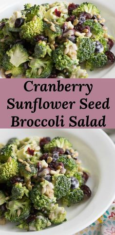 Broccoli Salad with Cranberries and Sunflower Seeds is a super simple salad side dish. via @peartreechefs