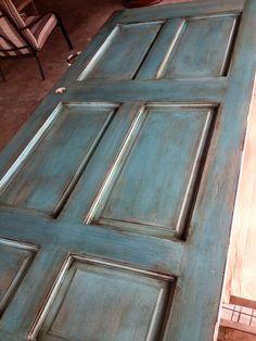 Turquoise distressed door