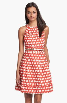 Eliza J Belted A-Line Dress available at #Nordstrom not crazy about red but love the print and style