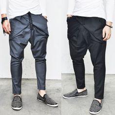 Mens Elastic Band Drawcord X Bandage Urban Slacks Baggy Pants By Guylook.com