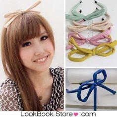 Women Coloured Embellishment Wrapped Oversized Looped Slim DIY Bow Hair Headband