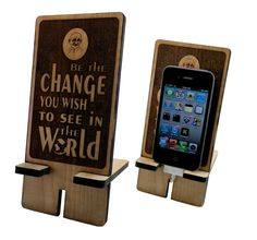 Ghandi Be The Change iPhone Stand Charging Station. Word Art Laser Engraved on Maple Wood. $19.00, via Etsy.