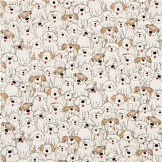 cream Timeless Treasures fabric with shaggy dogs 2
