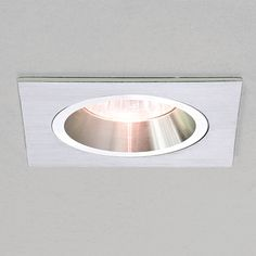 Taro square fixed ceiling downlight in brushed aluminium. A simple recessed ceiling downlight that requires a cut out of 75mm.    The Taro range is also available in brushed aluminium, round or square and either fixed or adjustable designs.    The light given off by this fitting is mainly in a downward direction.