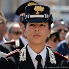 An officer participates in a Mass celebrated by #PopeFrancis honoring the 200th anniversary of the founding of the Italian Police force, The Carabinieri.