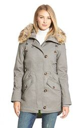 Sam Edelman Twill Pleat Skirt Parka with Faux Fur Trim Hood (Online Only)