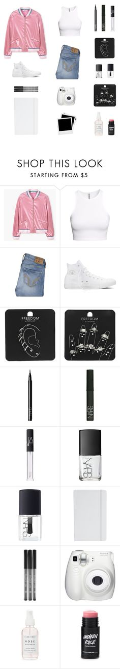 """""""Swallow nostalgia, chase it with lime. Better than dwelling, and chasing time. Missing occasions, I can't rewind. Can't help but feel I've lost what's mine."""" by musicsavedme1313 ❤ liked on Polyvore featuring MANGO, H&M, Hollister Co., Converse, Topshop, NARS Cosmetics, ASOS, Fujifilm and Polaroid"""