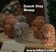 Czech clay sheep. What if the kids did these as thumb pots like in one of the  other pins?