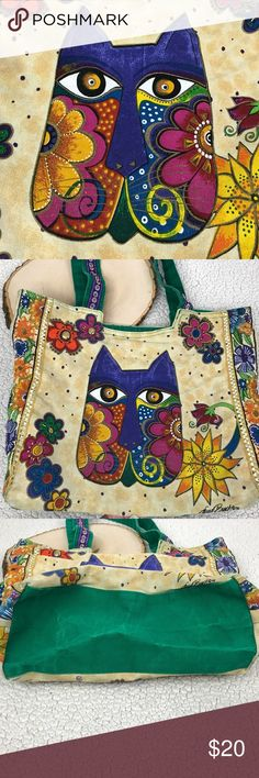 Laurel Burch Embellished Canvas Floral Cat Feline Laurel Burch Embellished Canvas Floral Cat Feline Top Zip Tote Bag Purse Handbag  MS36  Gently Used, faded, Discolored zip pull,Missing some beads/studs - Zipper Closure - Measures 15 x 15 Bags Totes