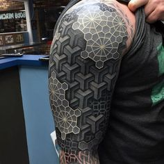 Mens Arms Black And White 3D Blocks Tattoo