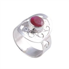ANTIQUE 925 PURE STERLING SILVRE RUBY 3.49g RING JEWELLERY R0384 #Handmade #RING