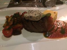 Beef steak with ratatouille.