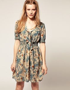 Darling Illustrated Floral Print Dress -- On Sale for $107.82