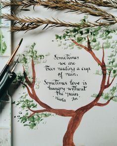 Rainy day love quote and calligraphy/watercolor art by poet Nicola An Watercolor Art, Calligraphy Watercolor, Creative Words, Love Quotes, Poems, Poetry Poem, Day, Nature, Weather