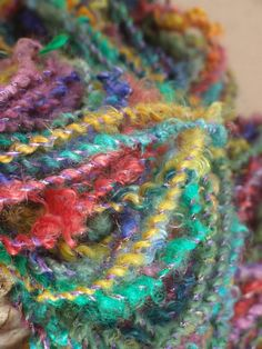 "MarieBernadette on Etsy. ""The Gypsy Sisters No. 1"" hand-spun mohair, Blue Faced Leicester, Lincoln, gold angelina yarn."