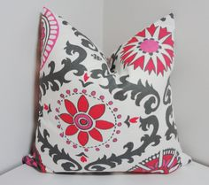 Fushia Pink/Grey Suzani Print Pillow Cover Throw by HomeLiving, $20.00