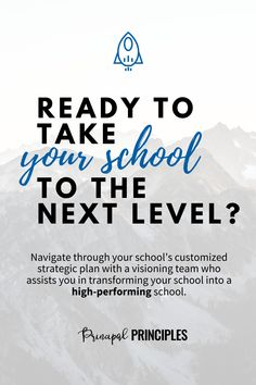 Are you ready to take your school to the next level? Learn from the school who won the Blue Ribbon award in 2019. Navigate through your school's customized strategic plan with a visioning team who assists you in transforming your school into a high-performing school. Online course by Principal Principles #leadership #onlinecourse #principalprinciples #school #transform