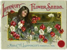 """A young girl surrounded by red and white flowers is pictured on the Carrie Lippincott 1905 catalog cover.  Carrie Lippincott, the self-proclaimed """"pioneer seedswoman"""" and """"first woman in the flower seed industry"""" established her mail-order flower seed business in Minneapolis in 1891. Sending out smaller 5 inch by 7 inch catalogs with colorful covers, her business was aimed at women customers."""