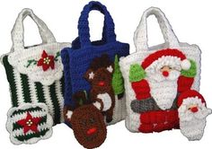 Picture of Christmas Gift Bags With Money Holders  Set 2 Crochet Pattern