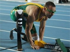 Oscar Pistorius: A double amputee competing not in the paralympics but against able-bodied competitors on the London stage. That's inspiring!