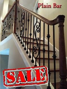 Stair Parts WROUGHT IRON BALUSTERS Plain Bar *SATIN BLACK*