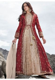 Beige Embroidered Silk Anarkali with Designer Maroon Jacket Party Wear Dresses, Embroidered Silk, How To Wear, Gowns For Party, Party Dresses, Robes De Soiree