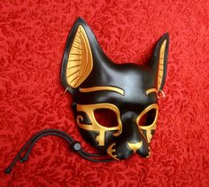 *This item is IN STOCK and available to ship immediately* This is a handmade leather mask based on the traditional depiction of Bast, cat goddess Egyptian Diy Costume, Egyptian Makeup, Egyptian Cat Goddess, Egyptian Cats, Leather Mask, Leather Jacket, Cool Masks, Cat Mask, Steampunk Cosplay