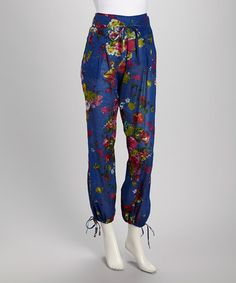 Take a look at this Royal Blue & Pink Floral Patchwork Pants - Women by Cotton Daisy on #zulily today!