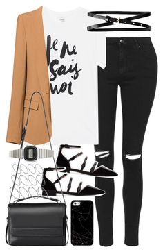 """Outfit with jeans and a blazer"" by ferned on Polyvore featuring Topshop, Sincerely, Jules, Zara, Banana Republic, AllSaints, Casio, ASOS and Casetify"