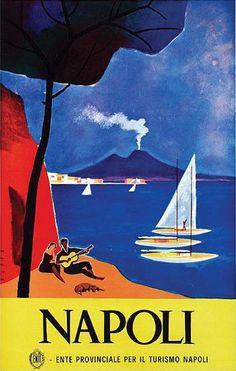 Italy Travel Print 1960 - Vintage Travel Prints Napoli Poster Travel Wall Art Retro Travel Poster Vintage Prints christmas present Vintage Italian Posters, Pub Vintage, Photo Vintage, Vintage Films, Vintage Italy, Vintage Travel Posters, Retro Poster, Poster S, Poster Prints