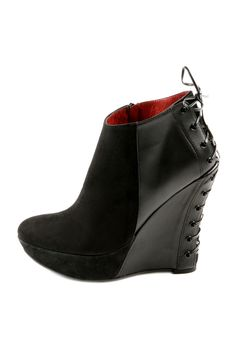 Madge Wedge Bootie  - Suede and Leather