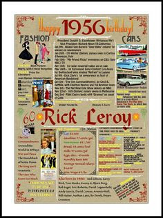 Hey, I found this really awesome Etsy listing at https://www.etsy.com/listing/265098731/60-birthday-poster-born-in-1956-events