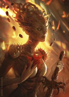 The fantasy art of Sandra Duchiewicz. Fantasy Rpg, Fantasy Artwork, Fantasy World, Dark Fantasy, Fantasy Images, Forest Creatures, Magical Creatures, Fantasy Creatures, Fantasy Inspiration